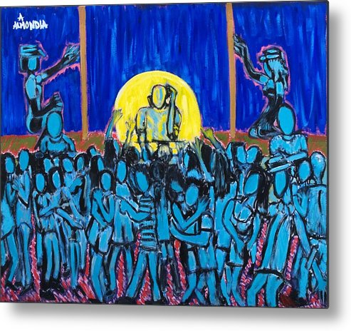 Dancing Metal Print featuring the painting Rhythm Blue by Albert Almondia