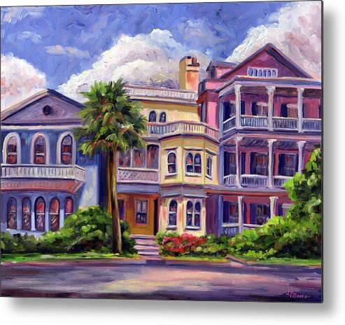 Colorful Historic Houses On The Charleston South Battery With Pastel Color And Blue Skies.. Metal Print featuring the painting Charleston Houses by Jeff Pittman