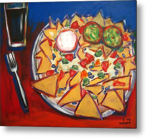 Food Metal Print featuring the painting Extra Guacamole by Albert Almondia