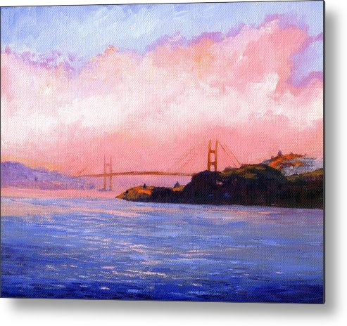Landscape Metal Print featuring the painting Golden Gate Bridge by Frank Wilson