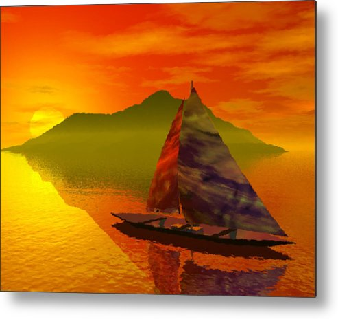 Boat Metal Print featuring the digital art Islandside by Adam Wells