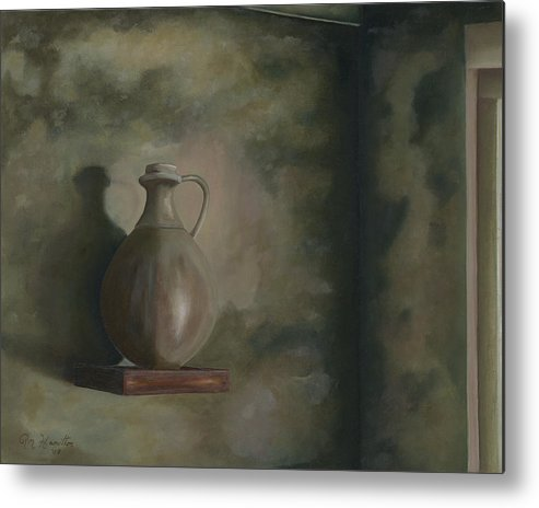 Still Life Metal Print featuring the painting Lamp Oil by Ron Hamilton