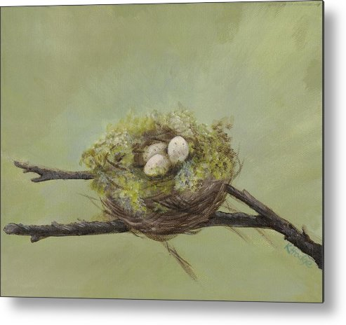 Birds Metal Print featuring the painting Patience by Kimberly Hodge