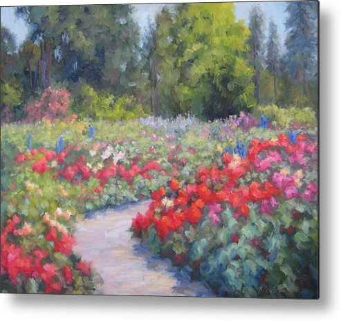 Rose Metal Print featuring the painting Rose Extravaganza by Bunny Oliver