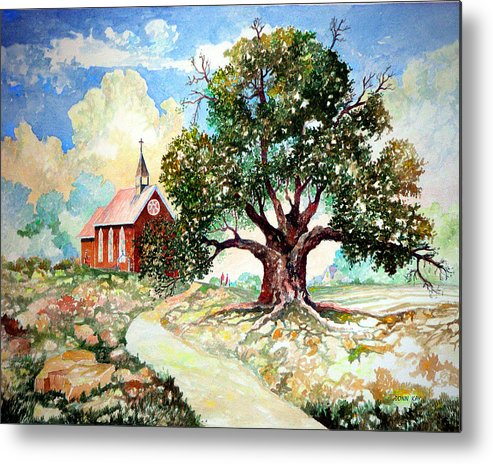 Giclee Prints Church House Tree Texas New Mexico Southwest Landscape Watercolor Metal Print featuring the painting The Old Oak Church by Donn Kay