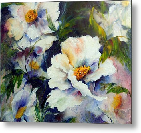Oil Metal Print featuring the painting White Beauties by Elaine Bailey