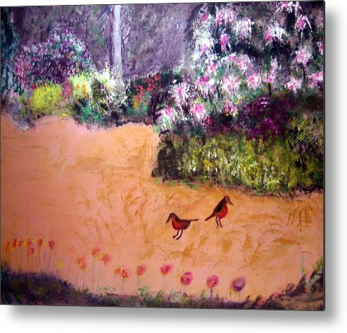 Landscape Metal Print featuring the painting Along The Garden Path by Michela Akers