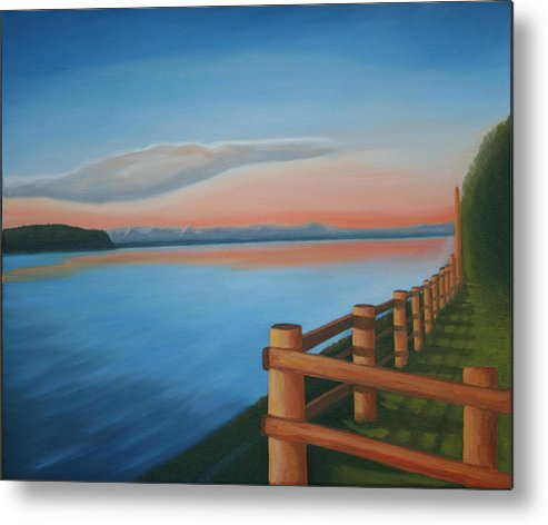 Seascape Metal Print featuring the painting Whidbey Island Sunset by Stephen Degan