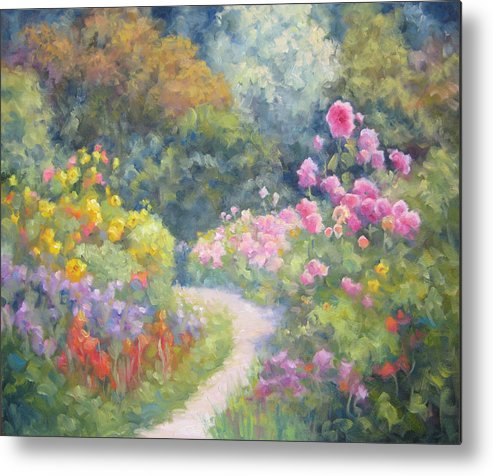 Garden Metal Print featuring the painting In Monets Footsteps by Bunny Oliver