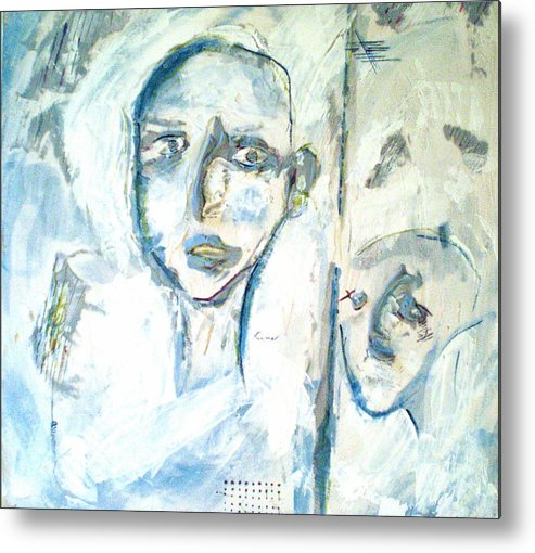 Portraits Metal Print featuring the painting Divided by Kime Einhorn