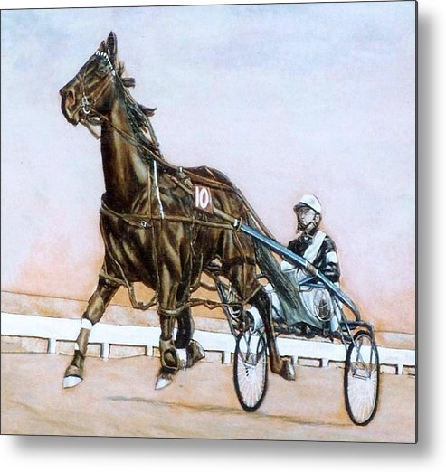 Horses Metal Print featuring the painting The Pacer by Lilly King