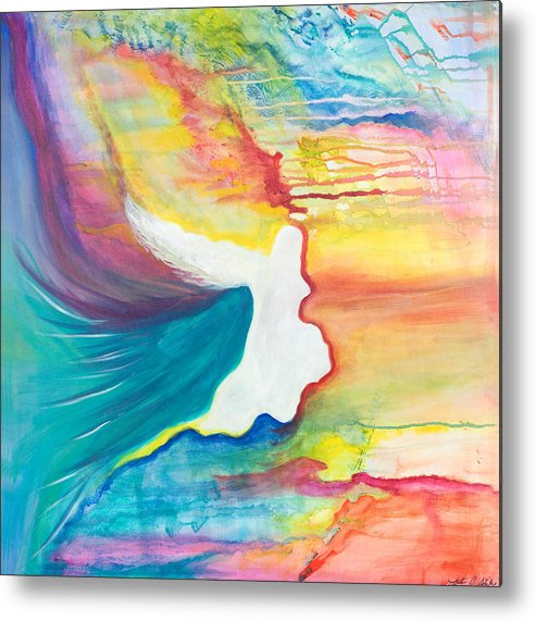 Angels Metal Print featuring the painting Rainbow Angel by Leti C Stiles