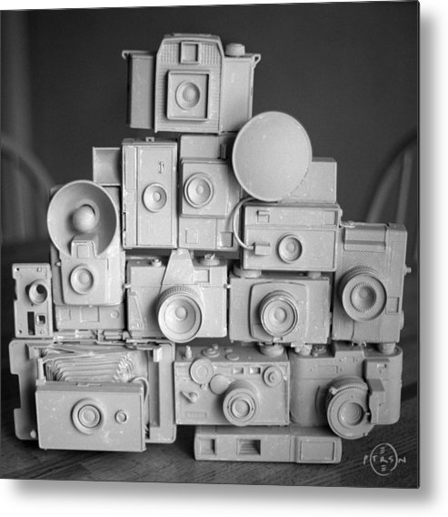 Camera Assemblage Metal Print featuring the photograph Stack O Cameras by Gary Peterson