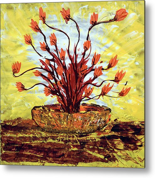 Red Bush Metal Print featuring the painting The Burning Bush by J R Seymour