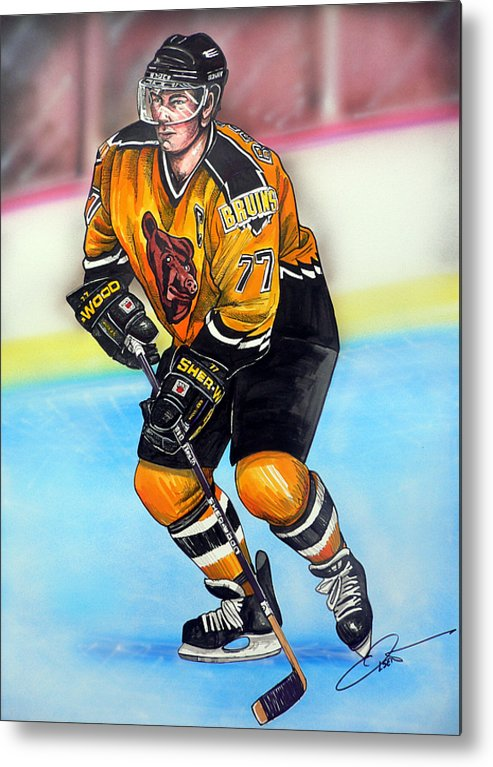 Hockey Metal Print featuring the painting Boston Bruins Ray Bourque by Dave Olsen