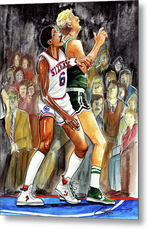 Larry Bird Metal Print featuring the painting Dr.j Vs. Larry Bird by Dave Olsen