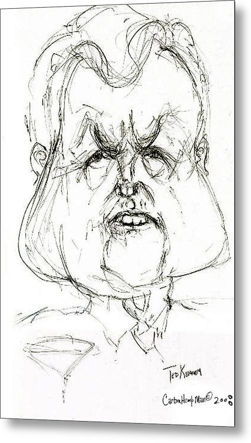 Political Cartoon Kennedy Graphite Paper Satire Metal Print featuring the drawing Ted Kennedy by Cartoon Hempman