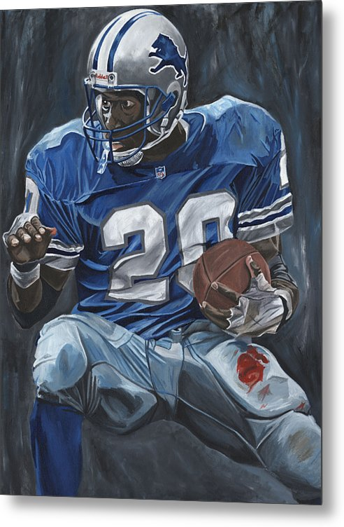 Barry Sanders Detroit Lions Nfl Football Sports Lion David Courson Metal Print featuring the painting The Cutback by David Courson