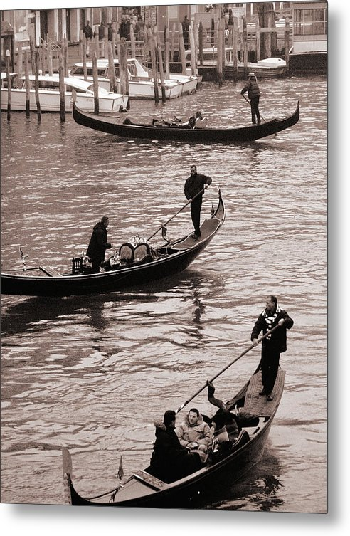 Venice Gondolas Metal Print featuring the photograph Three Gondolas by L S Keely