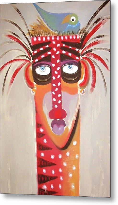 African Warrior Whimsical Art Work With Bird Metal Print featuring the painting Home Sweet Home by Gary l Hartsfield