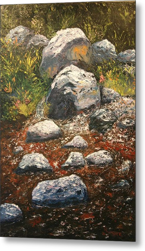 Landscape Metal Print featuring the painting Woodland Stream by Robert Tower