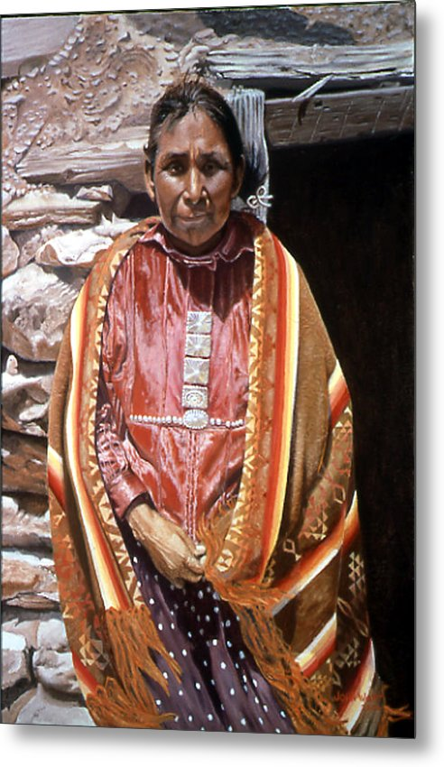Navajo Indian Southwestern Monument Valley Metal Print featuring the painting Genesis by John Watt