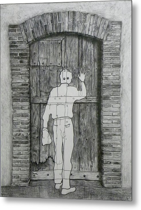 Etant Donnes Metal Print featuring the drawing Being Taken by Riccardo Alone
