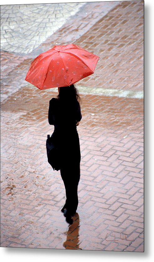 Rain Metal Print featuring the photograph Red 2 - Umbrellas Series 1 by Carlos Alvim