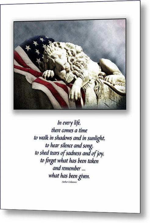 Patriot Flag American Lion Metal Print featuring the photograph Fallen Patriot by Carolyn Staut