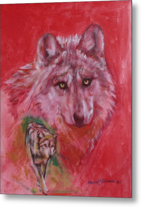 Bbkexperi Metal Print featuring the painting Wolf by Howard Stroman