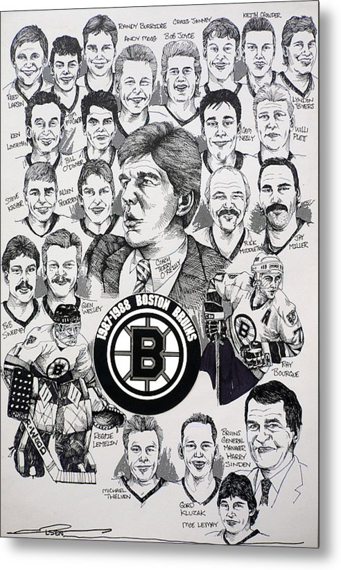 Championship Poster Metal Print featuring the drawing 1988 Boston Bruins Newspaper Poster by Dave Olsen
