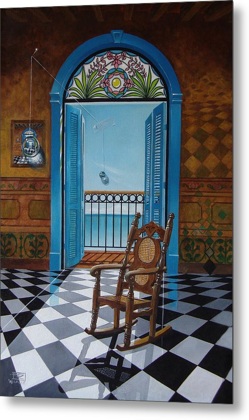 Spheres Metal Print featuring the painting El Sillon De Abuelita by Roger Calle