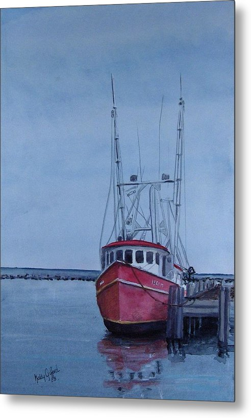 Fishing Trawler Metal Print featuring the painting Provincetown Portuguese by Haldy Gifford