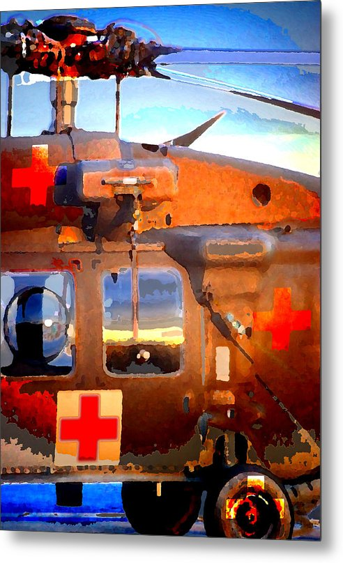 Metal Print featuring the digital art Helicopter by Danielle Stephenson
