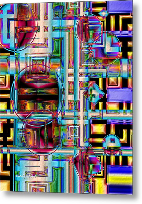Abstract Shapes Color Geometric Metal Print featuring the digital art Refinement by Carolyn Staut