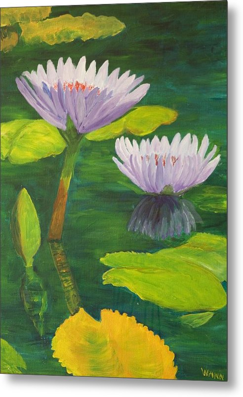 Flower Metal Print featuring the painting Water Lilies by Anita Wann
