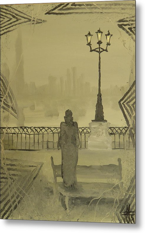 Paris Metal Print featuring the painting City Of November - Waiting For Thoughts To Go by Zsuzsa Sedah Mathe