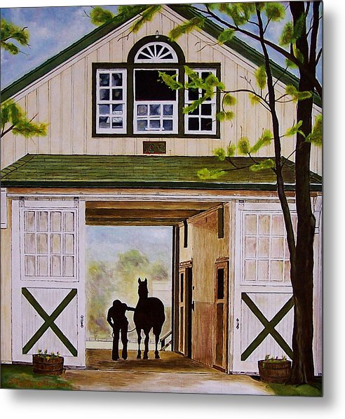 Landscape Metal Print featuring the painting Horse Barn by Michael Lewis
