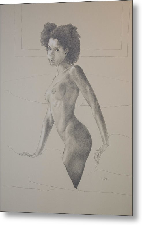 Black Female Metal Print featuring the drawing Female Nude Four by George Wade
