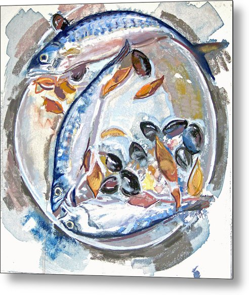 Still Life Metal Print featuring the pastel Mackerel Mussels Leaves by Grace Keown