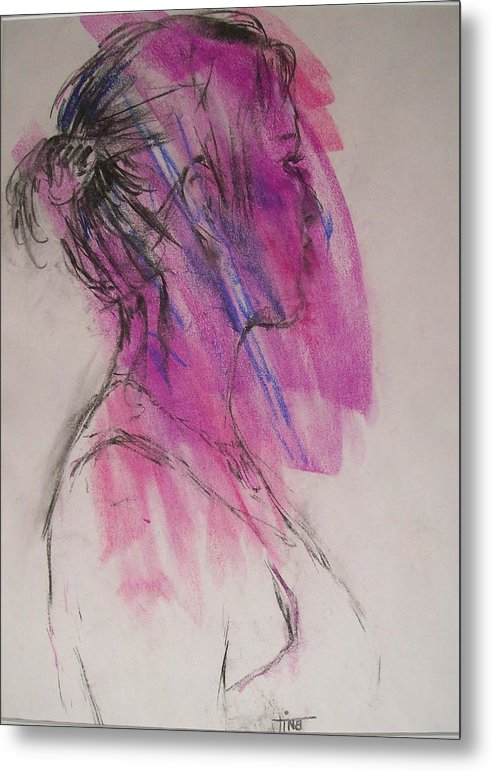 Portrait Metal Print featuring the painting Magenta by Tina Siddiqui