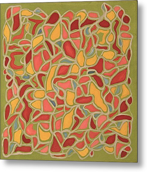 Abstract Red And Green Metal Print featuring the painting Fragments by Ani Magai