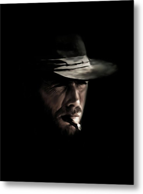 Clint Eastwood Metal Print featuring the digital art The Man With No Name by Laurence Adamson