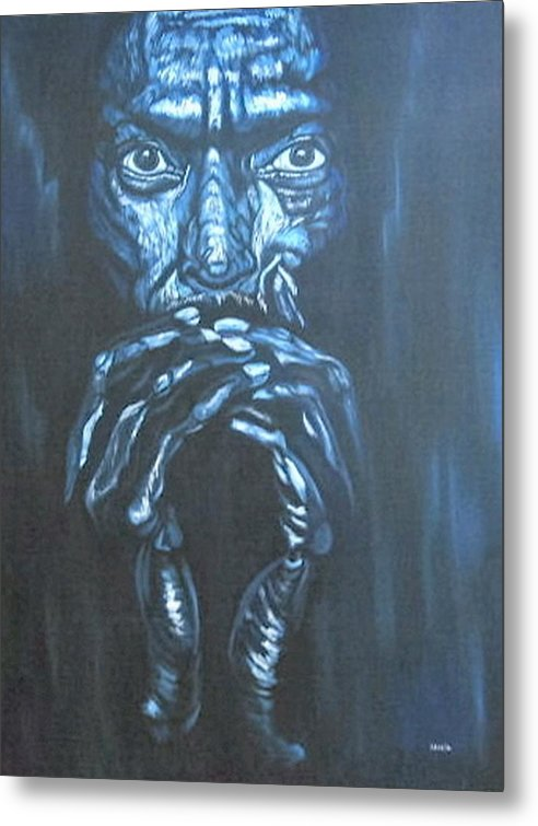 Portrait Metal Print featuring the painting Miles by Shahid Muqaddim