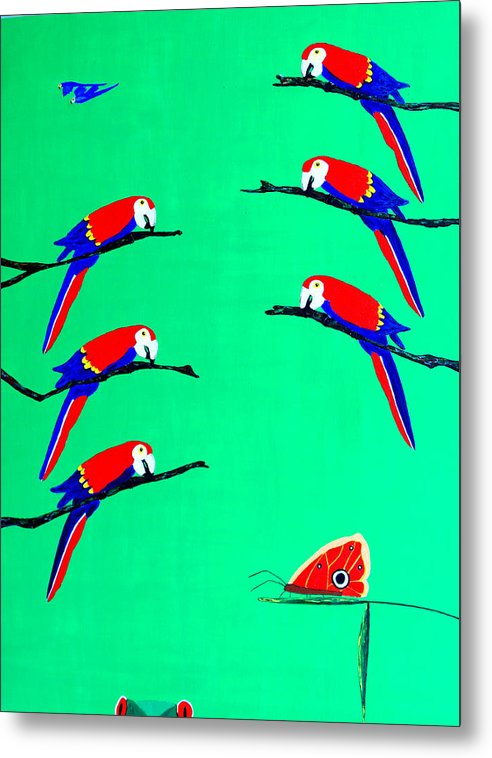 Caribbean Metal Print featuring the painting Macaw Ladder by Sula Chance