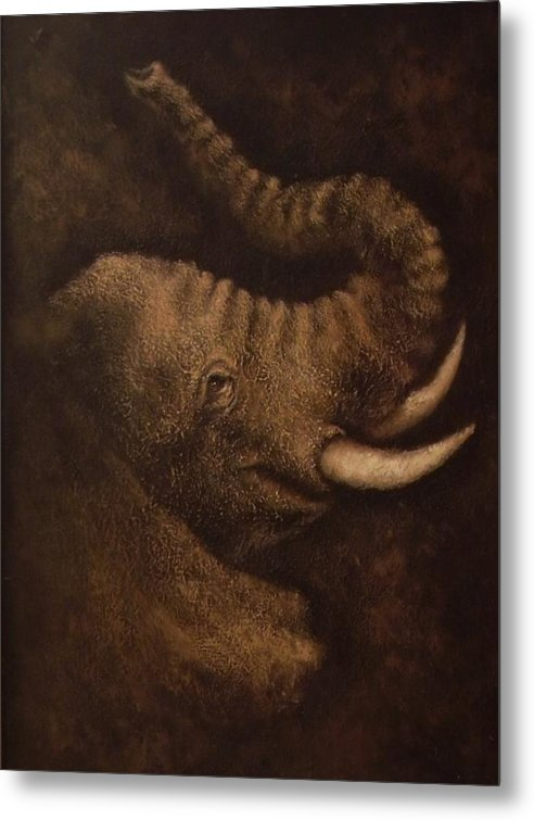 Elephant Metal Print featuring the mixed media Young Elephant Portrait by Joann Shular