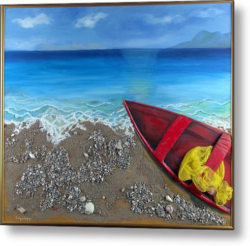 Seascape Metal Print featuring the painting Serenity by Helene Lagoudakis
