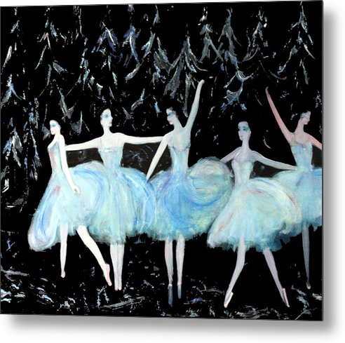 Ballet Metal Print featuring the painting Ballet In Blue by Michela Akers