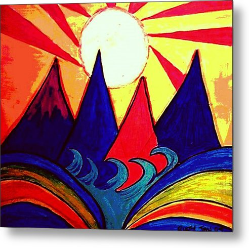 Japan Metal Print featuring the painting Japanese Sunrise by Rusty Gladdish