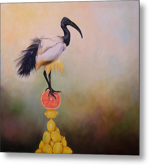Bird Metal Print featuring the painting Sacred Ibis Lemon Pyramid by Valerie Aune